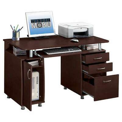 Computer Desk With Storage Cabinet Drawers Pullout Keyboard Tray In Chocolate