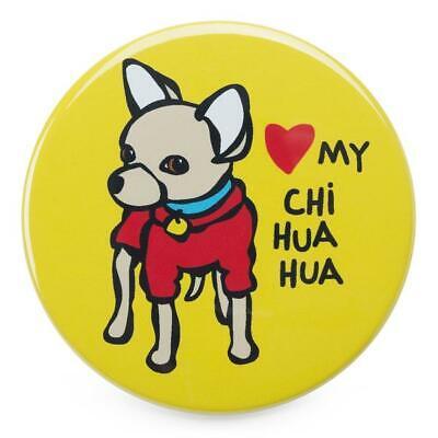 MARC TETRO 'LOVE MY CHIHUAHUA' (DOG) FRIDGE MAGNET YELLOW LARGE (I HEART)