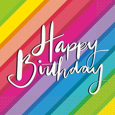 16 x Napkins 33cm Happy Birthday Rainbow Coloured Adult Party Tableware Supplies ()
