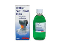 Difflam Sore Throat Rince. Benzydamine Hydroochloride. 200ml. Bottled new. Less than half price.