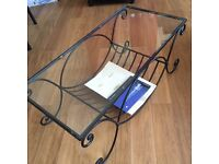 Wrought Iron and Glass Coffee Table