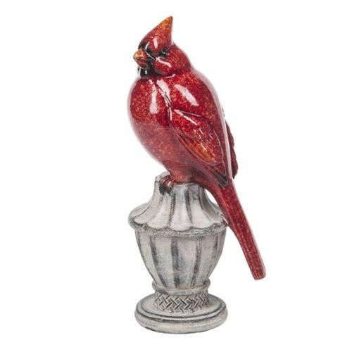 """Ganz Cardinal Red Bird on Pedestal Figurine 7 1/2"""" Tall"""