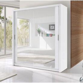 BRAND NEW BERLIN 2 DOOR SLIDING WARDROBE WITH FULL MIRROR IN BLACK WHITE WALNUT WENGE & MANY SIZES