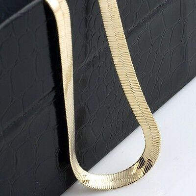 Mens 14K Yellow Gold Plated 24in Herringbone Chain Necklace 7 MM