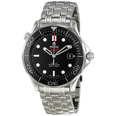 Omega Seamaster Black Dial Automatic Steel Mens Watch