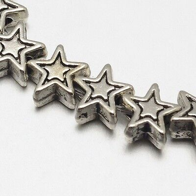 """Antique Silver Tibetan Style 6mm Star Spacers/Beads (8"""" Strand)"""