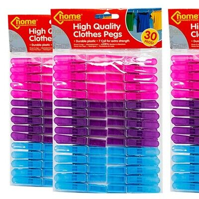 30 Quality Clothes Pegs Plastic,Washing Line gardens Dryer 30 pegs UK no wood
