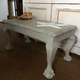 Antique grey vintage claw foot small coffee side table