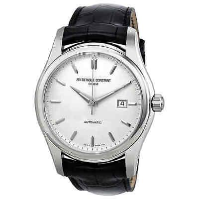 Frederique Constant Index Automatic Silver Dial Black Leather Men's Watch