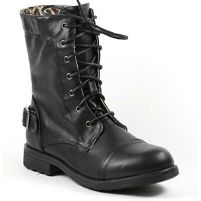 Black Faux Leather Girl's Kids Buckle Mid Calf Lace Up Military Combat Boots