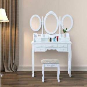 Set Maquillage Miroirs & Tabouret Vintage Vanity  – Blanc