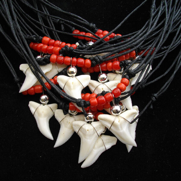 160 pieces shark tooth necklaces black turquoise brown red 40x each colour bulk