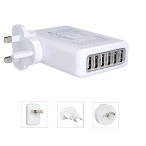 6 USB Multi Ports Adapter Travel Wall AC Charger UK/EU/US/AU Plug 4A for phones