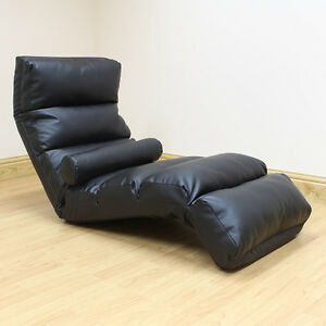 Black lounger chaise longue day bed adjustable lounge seat for Chaise longue sofa bed ebay
