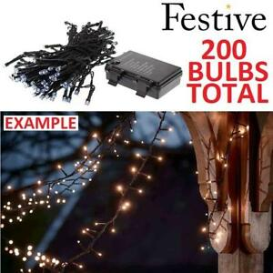 NEW FESTIVE CHRISTMAS STRING LIGHTS P019134 221543099 BATTERY OPERATED TIMER LED COLD WHITE 200 LIGHT BULBS TOTAL XMA...