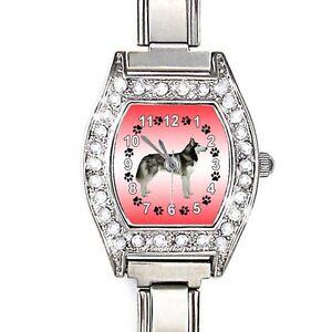 Siberian-Husky-CZ-Ladies-Stainless-Steel-Italian-Charm-Quartz-Wrist-Watch-BJ1002