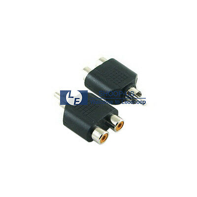 New 1 Male RCA to 2 Female RCA Y Splitter AV Audio Video Converter Adapter Cable