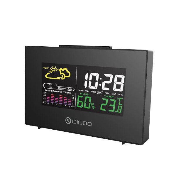 Color Backlit Hygrometer Thermometer Weather Forecast Station Alarm Clock
