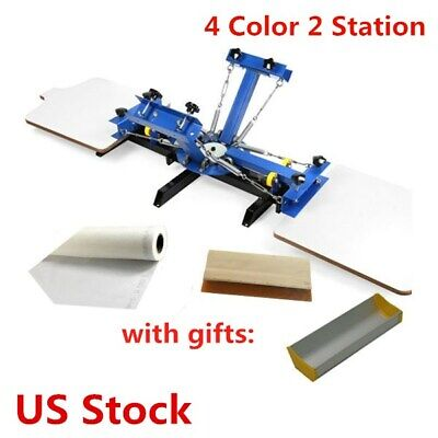 Usa - 4 Color 2 Station Silk Screen Printing Machine 4-2 Press Diy