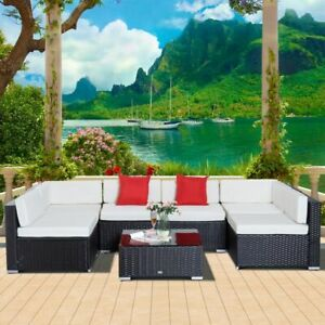 7 Garden Wicker Sectional Sofa Set with Cushion Patio Outdoor
