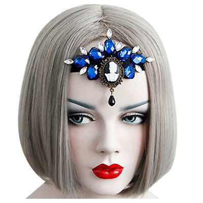 Halloween Easter Day COS Headband Headdress Frontlet (blue skull) I9U1 H9V1 A0E3 ()