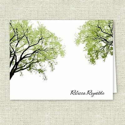 Spring Trees Note Cards, Personalized Stationery, Folded Note Cards
