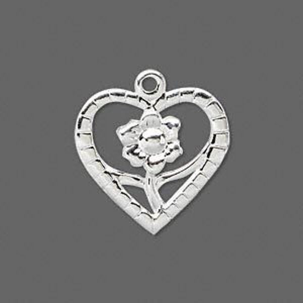 "Silver Heart Flower Charm Love Pendant Jewelry Scrapbook 1"" Lot of 16"