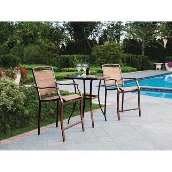 Garden Furniture - 3 PC Bistro Set Bar Height Chairs Table Patio Deck Furniture Garden Pool Yard