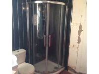 Shower cubicle with tray