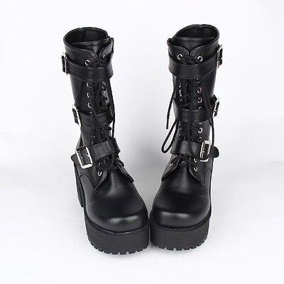 Schwarz Gothic Goth Punk Army Damen-stiefel Stiefeletten boots Cosplay (Schwarze Stiefel Kostüme)