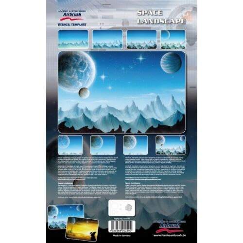 """Airbrushing stencil  """"Space Landscape""""  A4 size  template by Harder Steenbeck"""