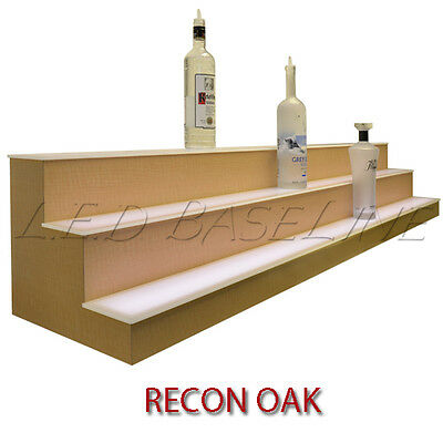 16 3 Tier Led Lighted Liquor Display Shelf - Oak Finish