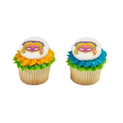 Masquerade Mask Cupcake Picks (New Mardi Gras Mask Edible Cupcake Toppers One)