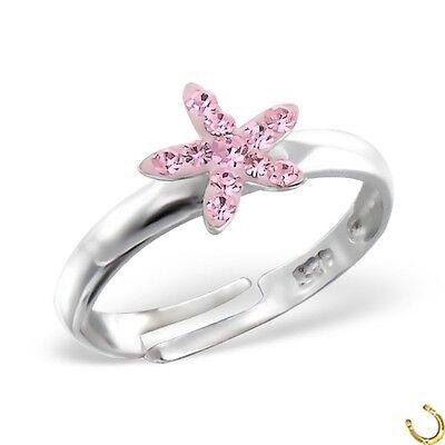 Rosa Kristall Stern Ring 925 Echt Silber Kinder Geschenkidee z-700