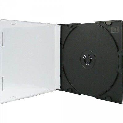 100 Xlayer CD / DVD Slim Case single Leer hülle für 1 Disk Hüllen Box schwarz