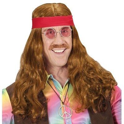 HIPPIE Herren Perücken Set  60er 70er - mit Haarband Schnauzer Bart Kostüm #4989