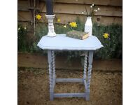 Antique vintage oak side table in chalky grey