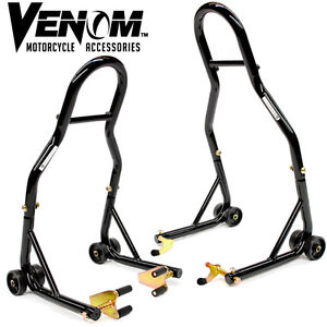 Venom Motorcycle Front & Rear Combo Wheel Lift Stands Paddock St