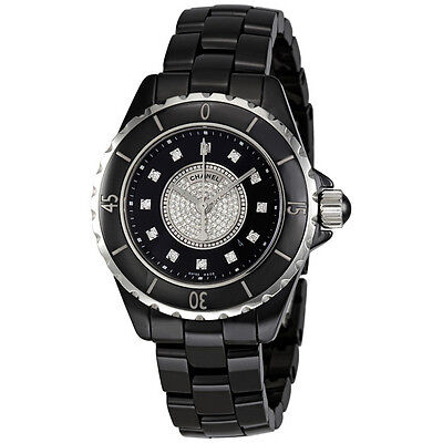 Chanel J12 Black Dial Ceramic Diamond Ladies Watch H2122