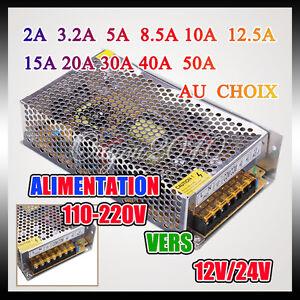 Transformateur alimentation d coupage led 12 24v 2 50a for Transformateur 110 220 darty