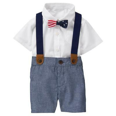 BABY BOY DRESS UP SUSPENDERS OUTFIT CLOTHES GYMBOREE CHAMBRAY AMERICANA 0-3 NEW](Boy Dress Up Clothes)