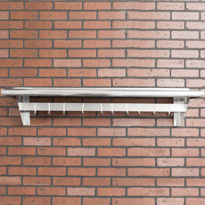 "Regency  12"" x 48"" S/S Wall Mounted Pot Rack with Shelf & 18 Galvanized Hooks"