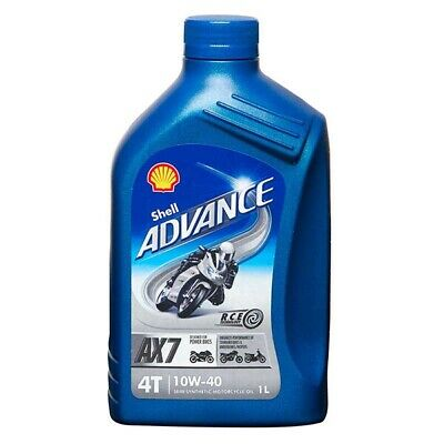 1 Litre 1L Shell Advance 4T AX7 10W40 Semi Synthetic Motorcycle Engine Oil