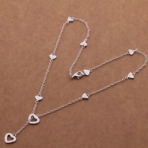 925 Sterling Silver Multi-Heart Lariat Y-Shape Charm Pendant Necklace 18