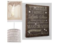Mamas and papas Millie and Borgia curtains light shade canvas bundle