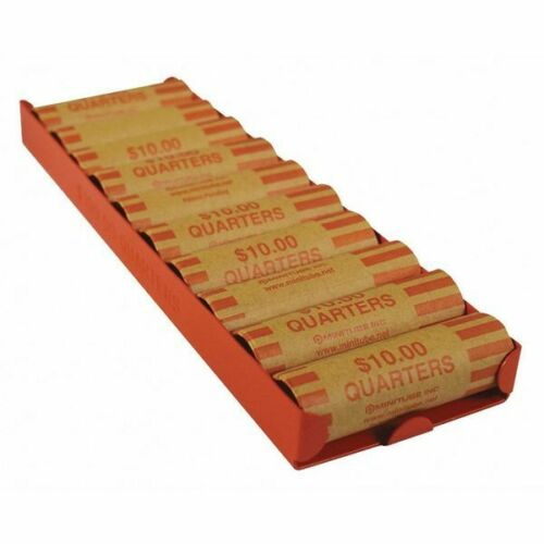 MMF INDUSTRIES 211012516 Rolled Coin Storage Tray,Orange quarters