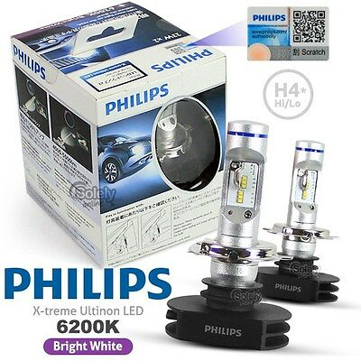 Genuine Pair Philips H4 6200K X-treme Ultinon LED High/Low Beam Headlight Lamp