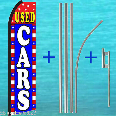 Used Cars Swooper Flag 15 Tall Pole Mount Kit Flutter Feather Banner Sign