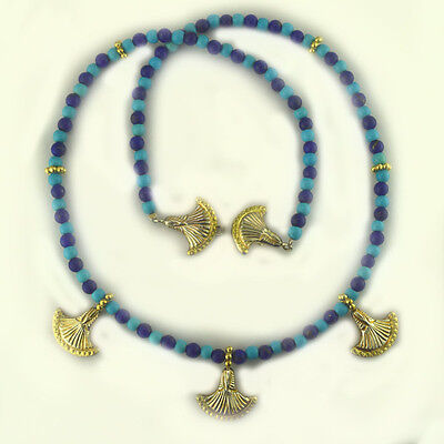 Offerings Sajen Lapis & Turquoise Bead Necklace with Sterling Silver & Vermeil