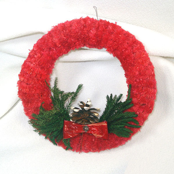 1950s Red Brush Chenille Christmas Wreath